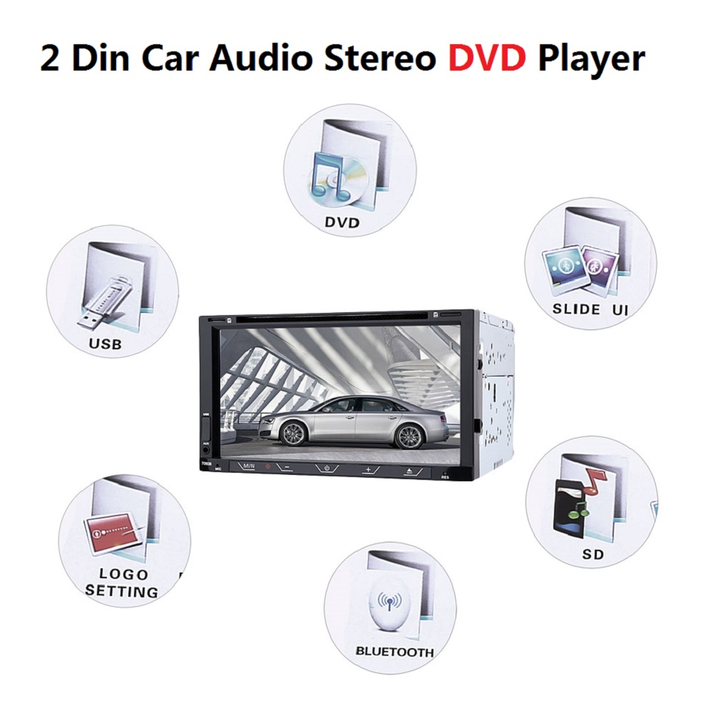 7 inch 2 Din Car MP5 Video Player Car Audio Stereo DVD Player DVD CD Slot Bluetooth FM Function Touch Screen Remote Control professional 6 2 inch 6201a audio dvd sb sd bluetooth 2 din car cd player with automatic memory play car dvd player