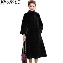 AYUNSUE Real Fur Coat 2017 Winter Warm Female Jacket Natural Sheep Shearing Fur Coats Mink Collar Wool Jackets For Wmen WYQ982