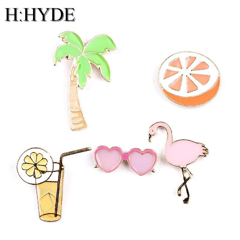 H:HYDE Cute Brooches Orange Heart Tree Juice Flamingos Sunglass Hat Guitar Brooch Denim Jacket Pin Badge Fashion Jewelry