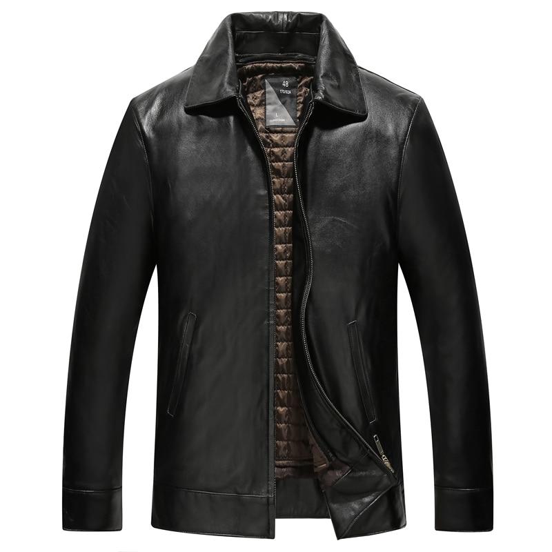 Genuine  Sheepskin Leather Jacket High Quality Warm Mens Black Jacket9921