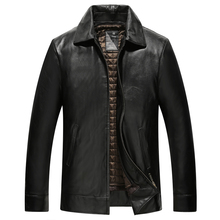 Genuine Sheepskin Leather Jacket High Quality Warm Mens Black Jacket9921