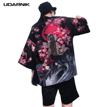 Men Kimono Thin Jacket Half Sleeve Print Japanese Style Cardigan Yukata Coat Retro Vintage Harajuku Loose Summer 226-097