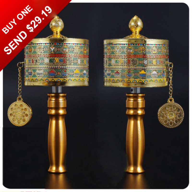 With 150,000 Times Of Mantra Handle Prayer Wheel, Including 11 Mantras, With the Prayer Base, Buddha Supplye, For Buddha-Worship