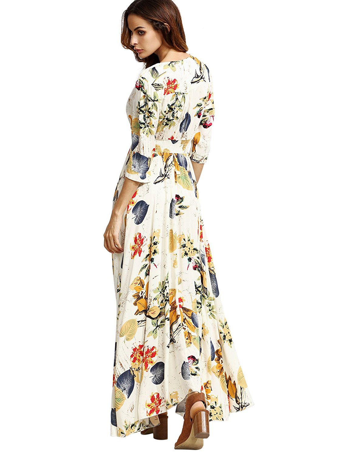 ae0902c62ef Women s Button Up Split Floral Print Flowy Party Maxi Dress-in Dresses from  Women s Clothing on Aliexpress.com