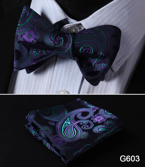 Floral Paisley Silk Bow Tie, Hanky Set