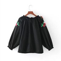 New 2017 Women Fashion Blusa Full Floral Embroidery Long Sleeve Ribbon Detail Cuffs Back Buttoned Opening