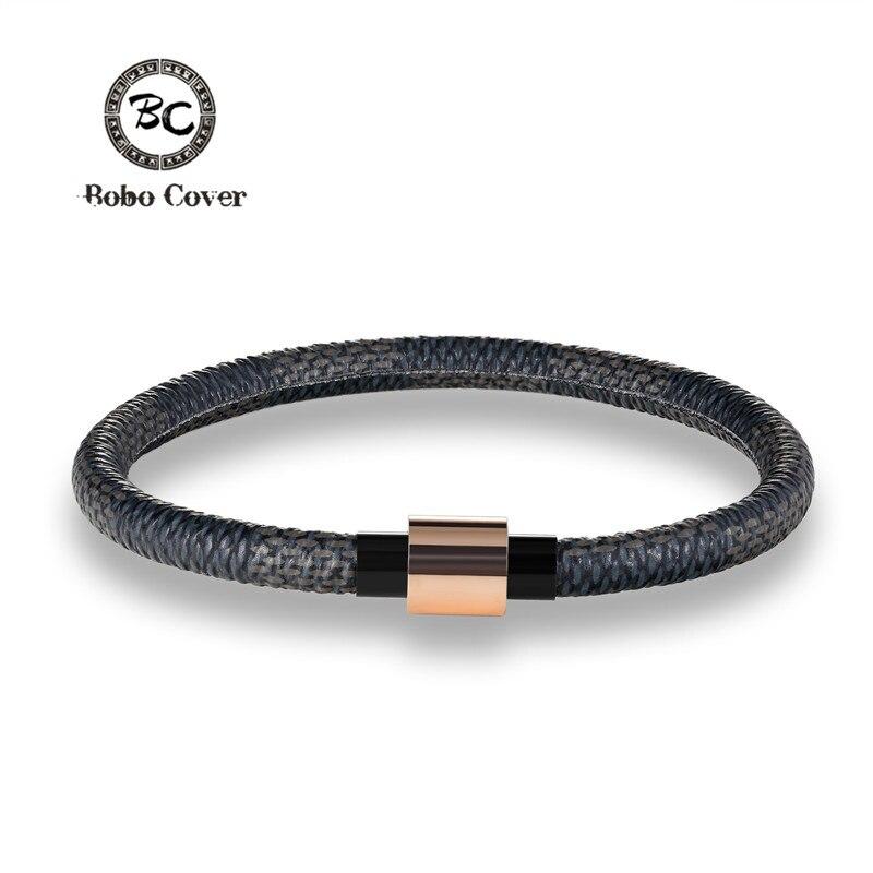 Fashion Stainless Steel Chain Genuine Leather Bracelet Men Creative Buckle Leather Bracelets Accessories color pulseira de couro