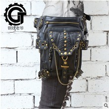 Hot sale PU Leather Punk Retro Rock Gothic Shoulder Bag Men women Leather Waist Bag Packs Women Messenger fashion leg bag