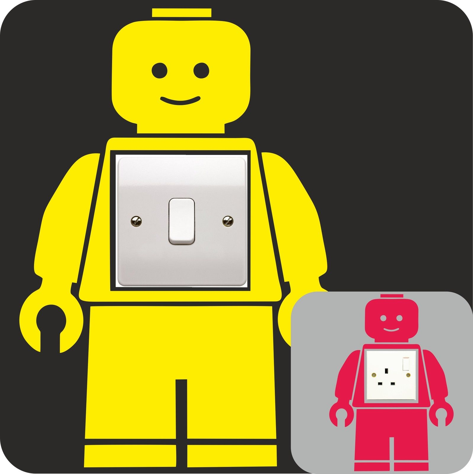 Lego man vinyl decal light switch plug surround bedroom for Decoration chambre lego