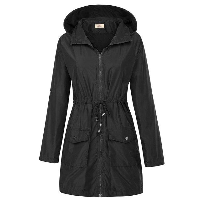 2018 новый основной с капюшоном Водонепроницаемый куртка осень-зима Для женщин с длинным рукавом бурелом однотонная верхняя одежда Пальто для будущих мам Повседневное Regular Fit Куртки