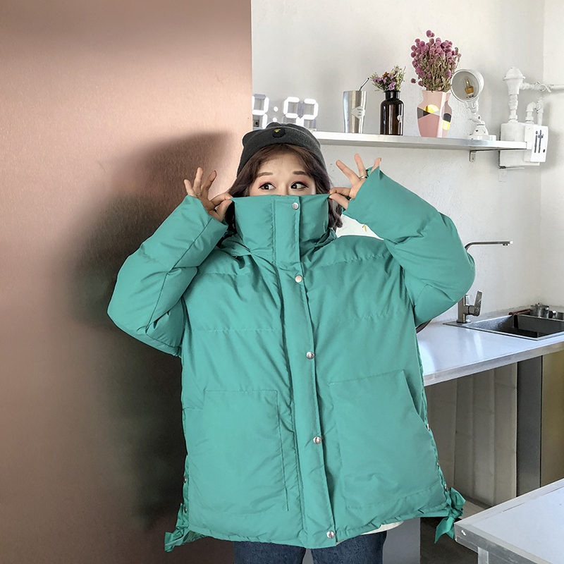Mode Parkas yellow green Black Dames pink Pain Nouvelle À Femmes Service Coréenne Version Unie white Couleur De D'hiver Manteau G0227 Capuche Épaississement Étudiants Coton wRRxITgq