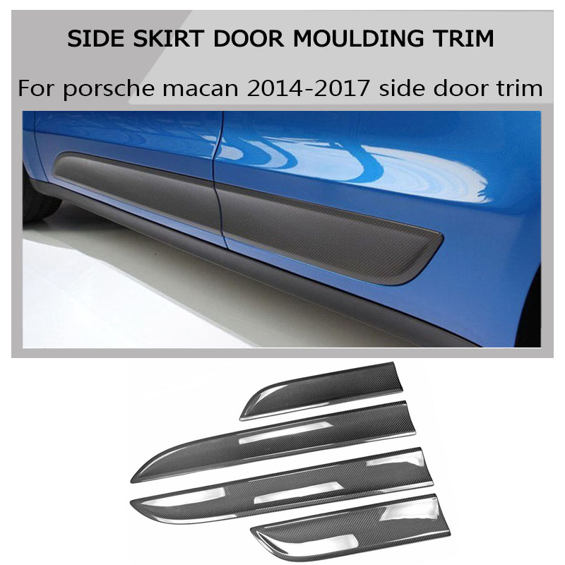 100% In Fibra di Carbonio esterno tuning gonna lato porta moulding trim kit per Porsche Macan 2014-2017 car styling