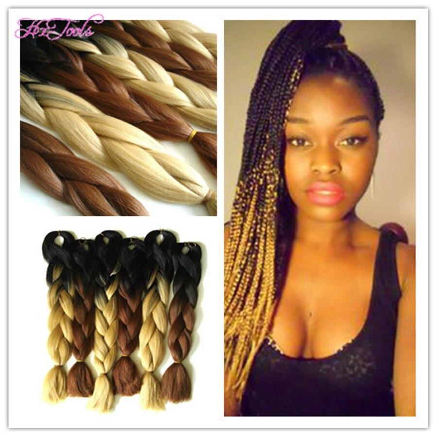 Folded Length 24inch Ombre Color Black D Brown Jumbo Hair Braid