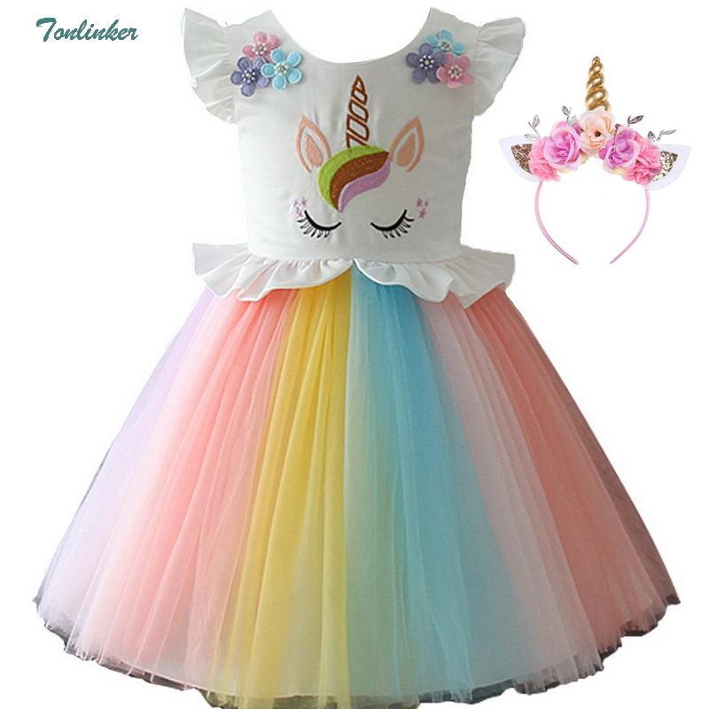 Girls Unicorn Costume Dress Princess Flowers Rainbow Dresses Up Child Cosplay Wedding Party Tutu Sleeveless Fancy Up 2-10 Years