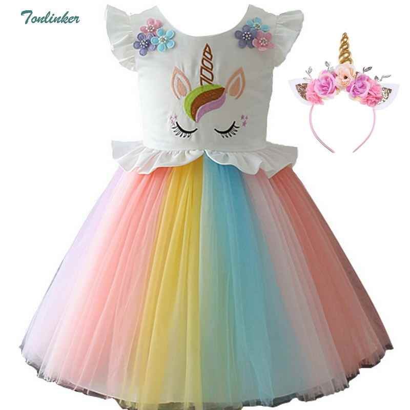 b81ce216498b Girls Unicorn Costume Dress Princess Flowers Rainbow Dresses up Child Cosplay  Wedding Party Tutu Sleeveless Fancy