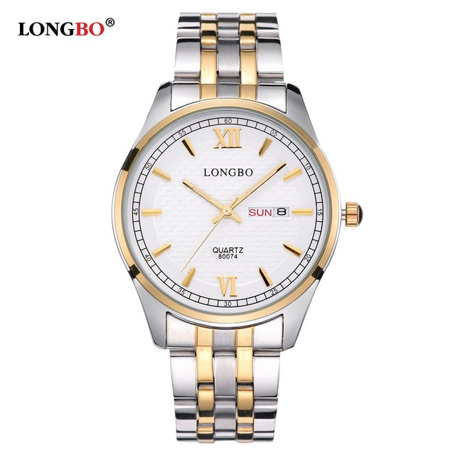 LONGBO 2017 Luxury Lovers Couple Watches Gold Stainless Steel Quartz Watches Men