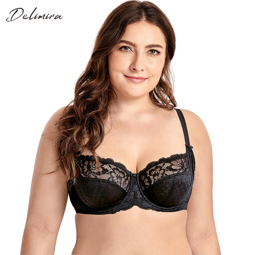 f9201c017 DELIMIRA Women s Plus Size Lace Full Coverage Underwire Non Padded Support  Bra