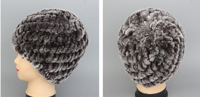 Woman Autumn Plus Size Striped Rabbit Fur Knit Protection Ear Caps Female Winter Warm Stretch Fur   Skullies     Beanies   Hats