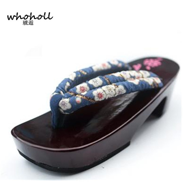 Women flip-flops 2017 summers wedge sandals Cosplay shoes Japanese Geta clogs wooden red lacquer wooden slippers WMGT-578