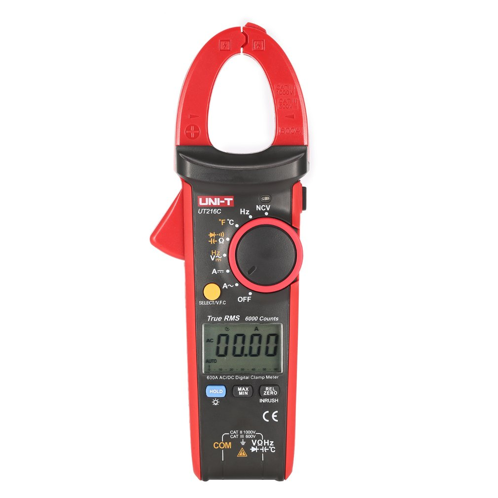 цена на UNI-T UT216C Multimeter 600A True RMS Digital Clamp Meter Auto Range Volt Amp Ohm Frequency Capacitance Temperature Tester