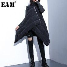 [EAM] 2018 New Autumn Winter V-collar Sleeveless Black Loose Oblique Zipper Pu Leather Cotton-padded Vest Women Fashion JI837
