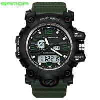 SANDA Brand Waterproof Fashion Watch Men Sport Analog Quartz Watch Dual Display LED Digital Electronic Watches