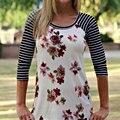 Camiseta Encabeça Mulheres Moda Charme Meninas Tee Macio Floral Impresso Listrado Emenda Camisetas MujerWhite/Black/Dark GreenS/M/L/XL
