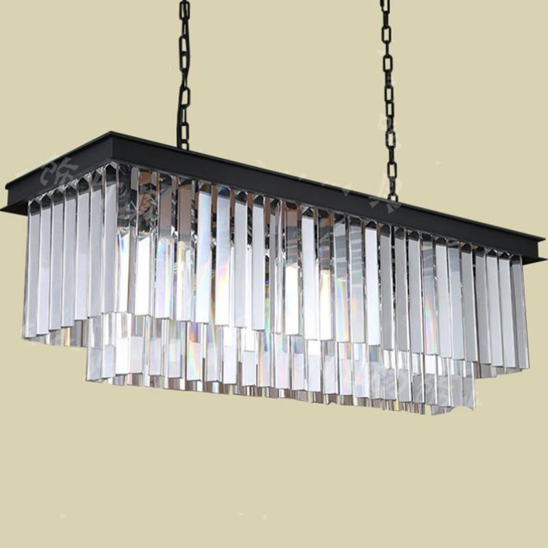 rectanglar Antique Smoke crystal pendant lights long black crystal bar Luminaire dining cafe light led iron industrial lighting