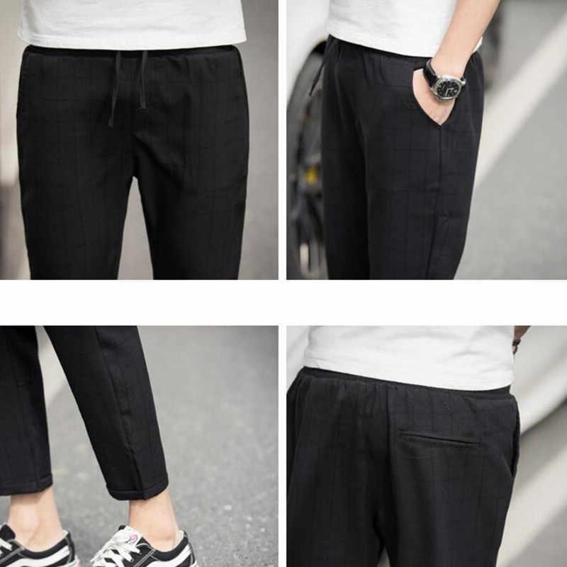 ซ้าย ROM 2019 ข้อเท้า - ความยาวผ้าลินินลายสก๊อตกางเกงผู้ชายกางเกง Hip Hop Jogger กางเกงผู้ชายกางเกงขายาว Streetwear กางเกงผู้ชาย s-5XL
