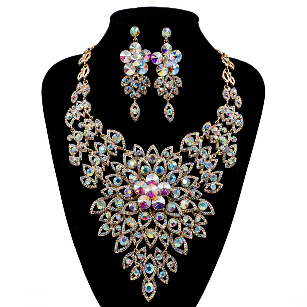 LAN PALACE new arrivals boutique wedding jewelry set Austrian crystal necklace and earrings for party free