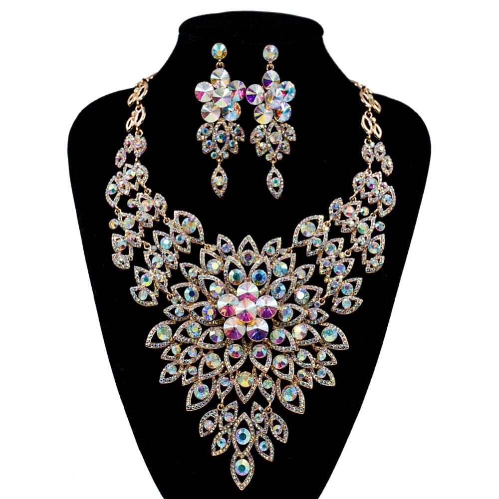 LAN PALEIS nieuwkomers boutique bruiloft sieraden set Oostenrijkse kristal ketting en oorbellen voor party gratis verzending-in Sieradensets van Sieraden & accessoires op  Groep 1
