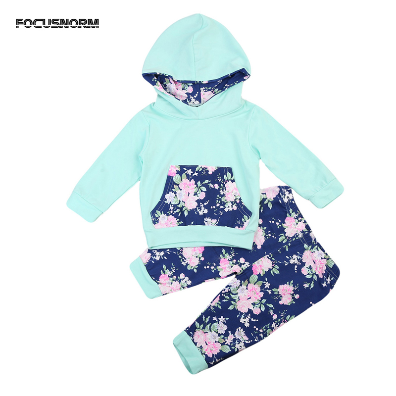 2017 New Fashion Toddler Baby Girl Clothes Flower Print Tops Hoodie Pants Home Outfits Set Clothes Green