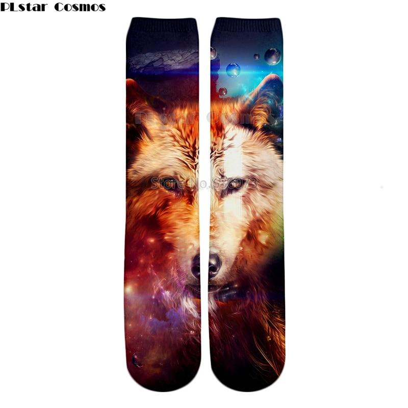 PLstar Cosmos Drop shipping 2018 New style Fashion Knee High Socks Animal starry sky hipster wolf Print 3d Men's Women's Sock 1