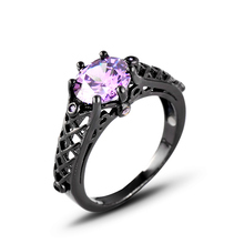 Fashion Jewelry For women Ring plating Black gold Filled Rings CZ purple Engagement Jewelry Full Sizes Ring Gift J02752 elegant purple black gold filled cz ring gold colors flowers rings unique vintage party wedding for women christmas jewelry