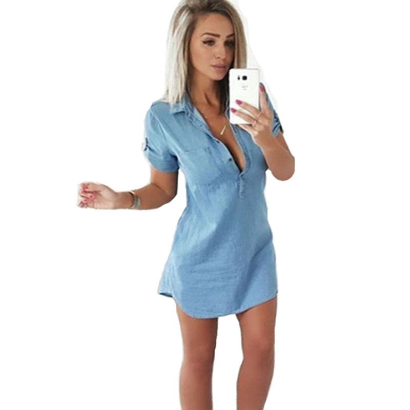 Jeans   Shirts   Blusa New Fashion Women Short Sleeve Solid Maxi Denim   Blouses   Ladies Casual Loose Sexy Long   Blouses     Shirt