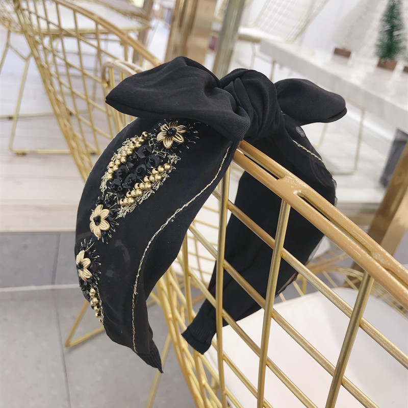 Korea Fabric Lace Embroidered Flower Pearl Bow Hairbands Bunny Hair Accessories Crown Headbands For Women in Women 39 s Hair Accessories from Apparel Accessories