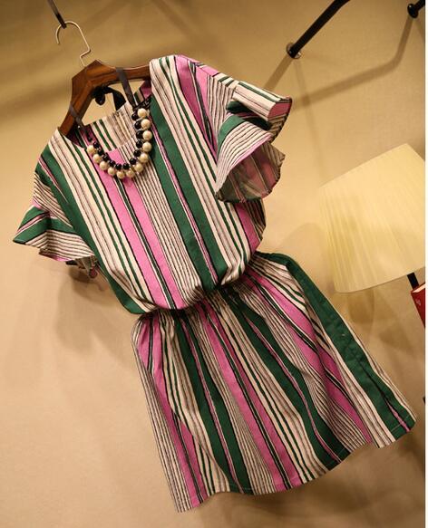 259d452daeda5 ✅Rafraîchissant Rayé À Manches Courtes Robe D'été Linge de Style ...