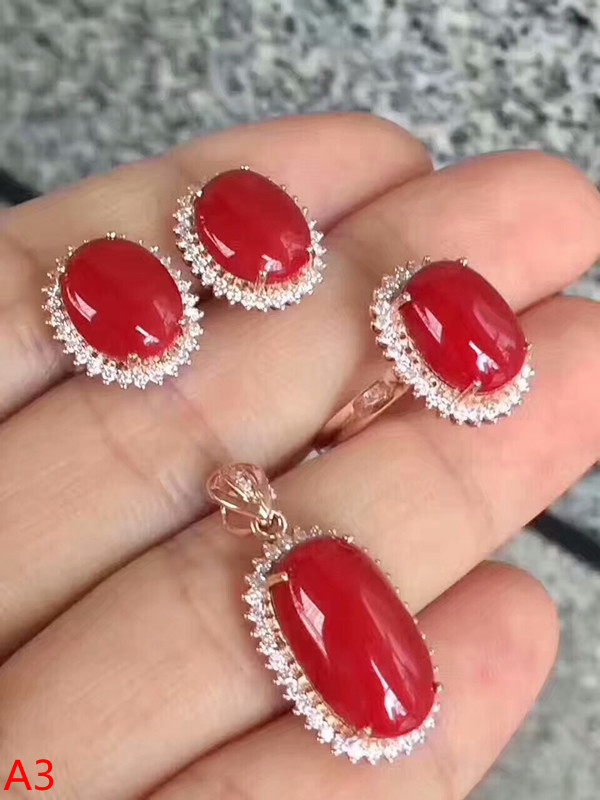 KJJEAXCMY Boutique bijoux 925 pur argent incrusté naturel rouge corail femme pendentif bague 3 ensembles d'or.