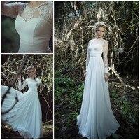 High Neck Long Sleeve Wedding Dress Chiffon with Appliques Modest Style Vestido De Novia Fashion Bride Girls Clothing White