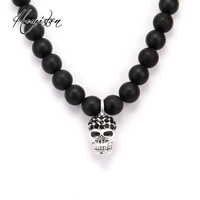 Thomas Black Obsidian Matted Bead Necklace With Small Skull Pendant From Rebel At Heart Collection