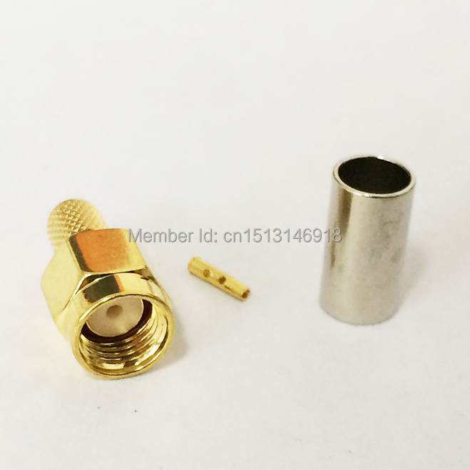 1pc RP-SMA Male Plug RF Coax Connector Crimp RPSMA for RG58 RG142 RG400 LMR195 Cable Straight Goldplated NEW SMA Connector rus stock 10pcs tnc male plug crimp connectors for rg58 rg142 lmr195 rg400 cable fast ship
