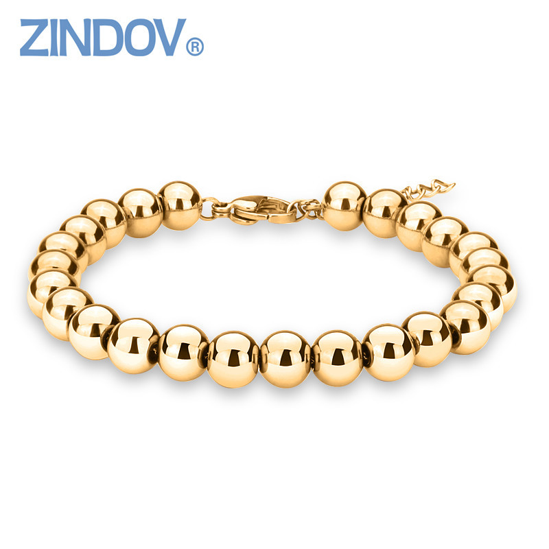 ZINDOV Hot Trendy Silver Rose Gold Filled 316L Stainless Steel Beads Bracelets Female Women Bangles Jewelry Bracelet Gold Color 316l stainless steel rose gold gold silver color frosted butterfly charms jewelry set necklace ring