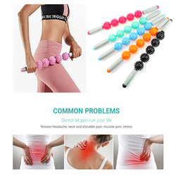 Massage Roller Stick Muscle Body Massage Relax Tool Muscle Roller Sticks With 5 Points Spiky Ball Release Pain Leg ,Neck & Back