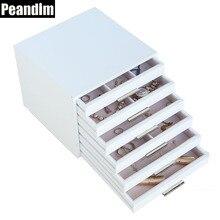 Peandim нескольких функций очень большой 6 ящиками МДФ деревянный ящик для хранения ювелирных изделий Организатор Косметические Макияж contanier