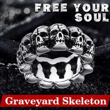 Мужское кольцо с черепом из нержавеющей стали в стиле панк