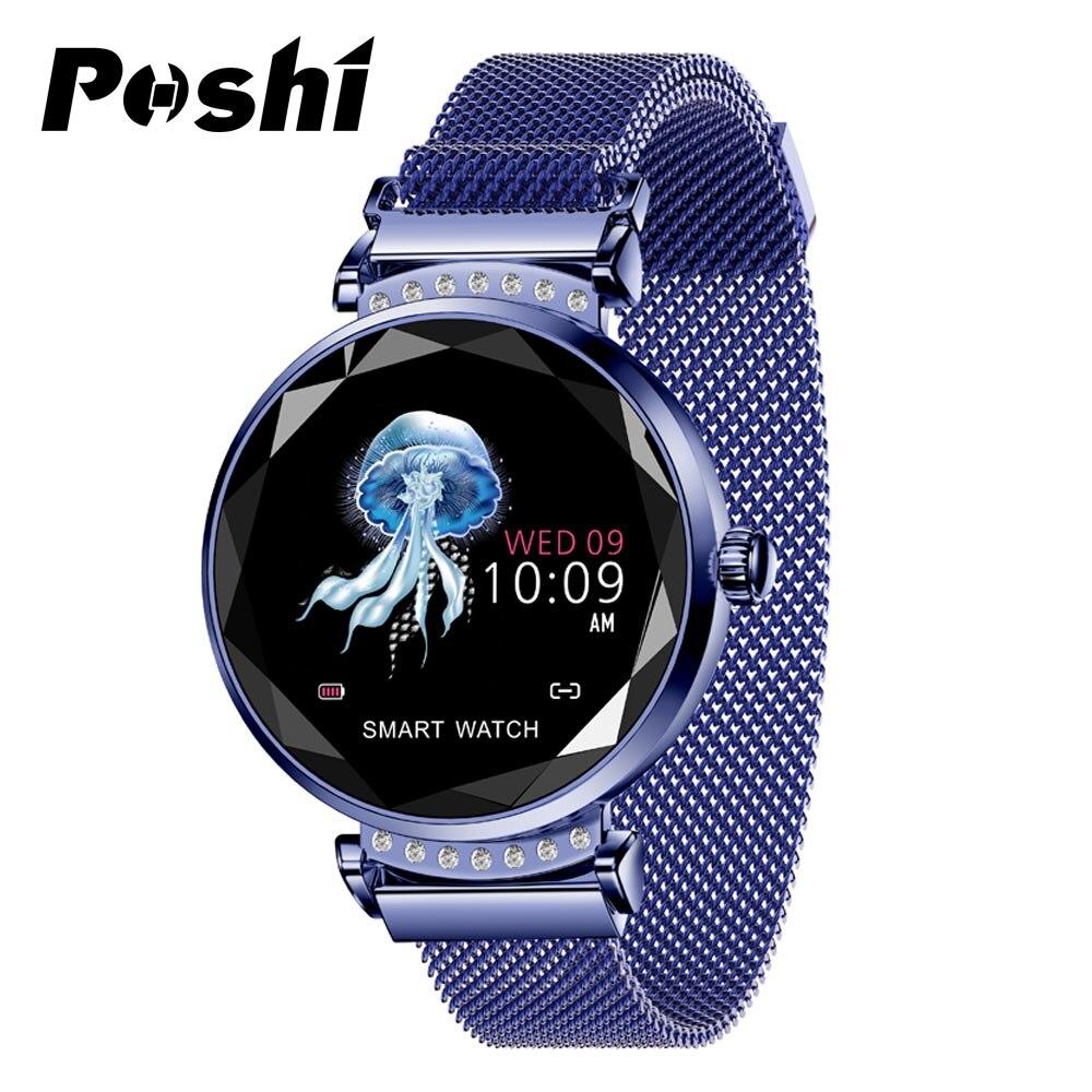Montre connectée Femmes Mode acier inoxydable montres femmes caméra à distance Calories Podomètre Nouvelle montre de sport Numérique reloj relogio
