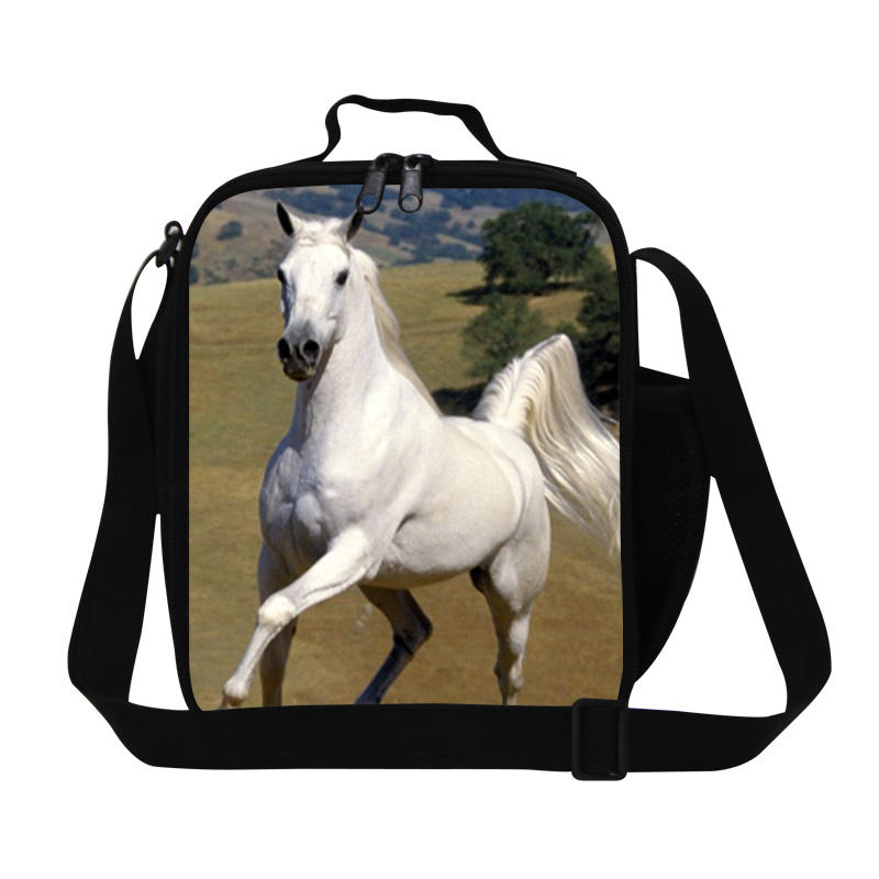 Cool white horse 3D print lunch bag for kids,boys fashion brown black horse lunch container for school,best insulated luncher