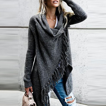 Cardigan Sweater Autumn Women Long Sleeve Oversize Sweater Loose Hem Tassel Cardigan Sweater Coat Plus Size raw hem geo pattern crop sweater