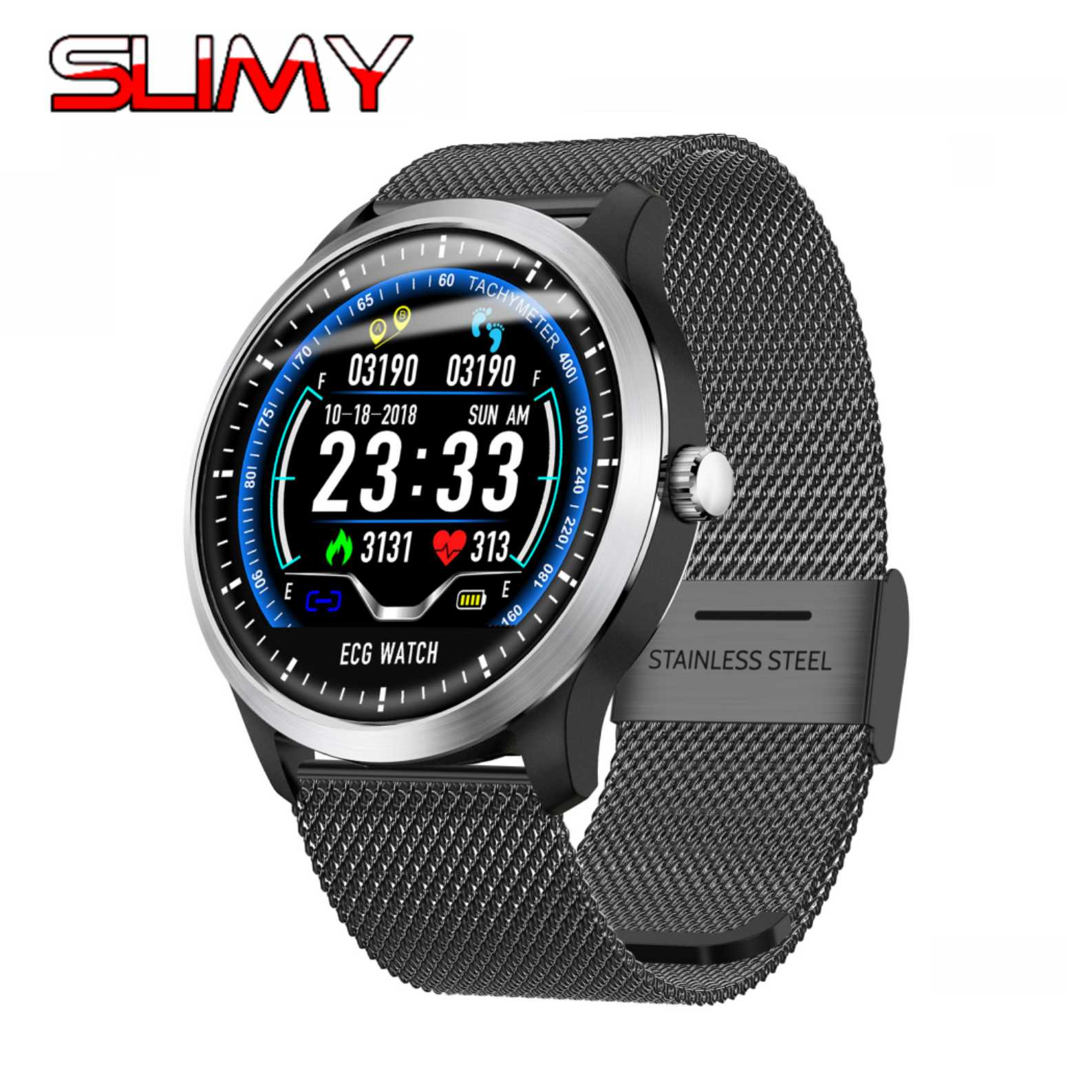 Slimy N58 ECG PPG Smart Watch with Electrocardiograph Ecg Display Holter Ecg Heart Rate Monitor Blood Pressure Smartwatch PK L3