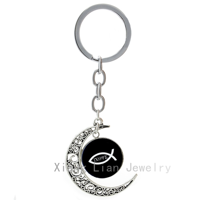 Christian fish keychain ichthus christian jesus fish art pture christian fish keychain ichthus christian jesus fish art pture handmade moon pendant key chains religious church aloadofball Image collections